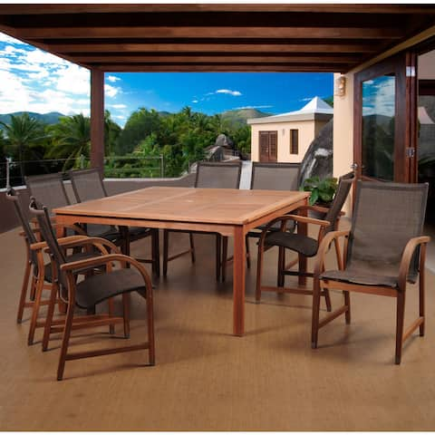 Popham Brown 9-piece Square Patio Dining Set by Havenside Home