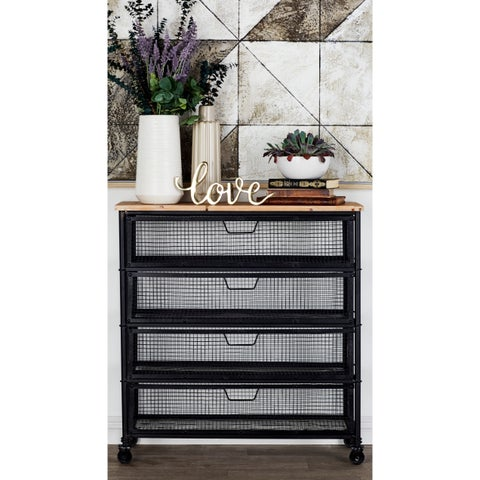 Industrial Black Iron 4-Drawer Storage Cart by Studio 350 - N/A