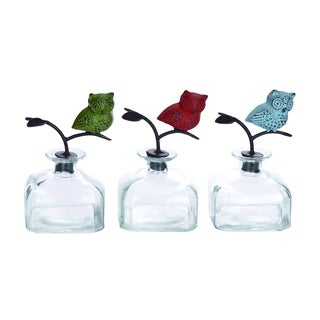 Glass Bottle Set with Metal Owl Stoppers (Set of 3)