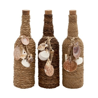 Multicolored Twine/Seashell-decorated 3-piece Stoppered Glass Bottle Set