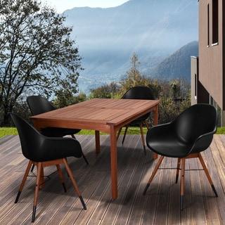 Amazonia Myers Black 5-piece Rectangular Patio Dining Set