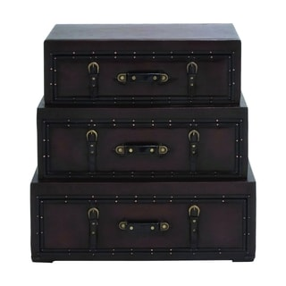 Natural Texture Wooden Leather Trunk Cabinet