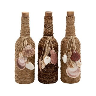 Benzara Nautical Wrapped Glass Stopper Bottles (Set of 3)