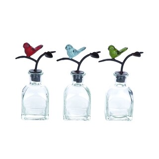 Benzara Assorted Glass Bottles With Metal Stoppers (Pack of 3)