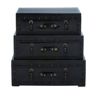 UMA Enterprises Brown/Black Wood and Faux Leather With Metal Accents Trunk Cabinet