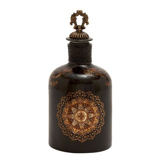 Ornate Multi-color Glass Stopper Bottle