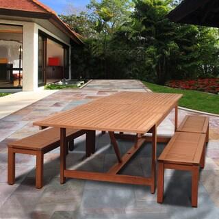 Amazonia Padua 5-piece Eucalyptus Double Extendable Rectangular Patio Dining Set