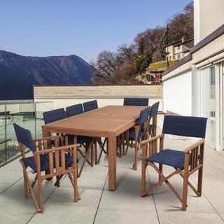 Amazonia Orlando 9-piece Blue/Brown Wood Patio Dining Set