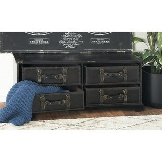 Leather and Wood 4-drawer Rectangular-topped Storage Cabinet