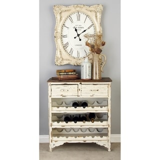Brown and White Wood 32-inch x 28-inch Distressed Wine Cabinet
