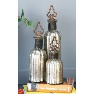 Set of 3 Rustic Metal and Glass Bottles by Studio 350 - N/A