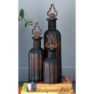 Pack of 3 Orange and Black Glass Stopper Bottle