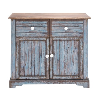 Blue and Brown Wood Cabinet