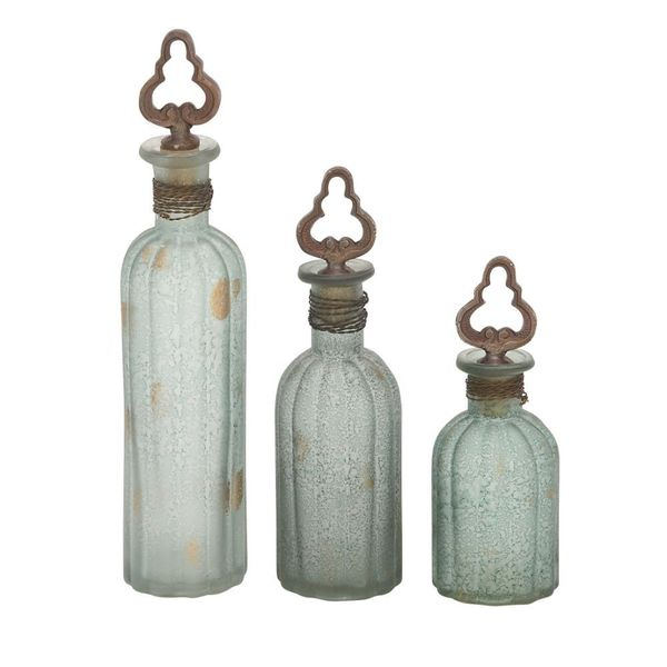 Classy Multi-colored Glass Stopper Bottle 3-piece Set