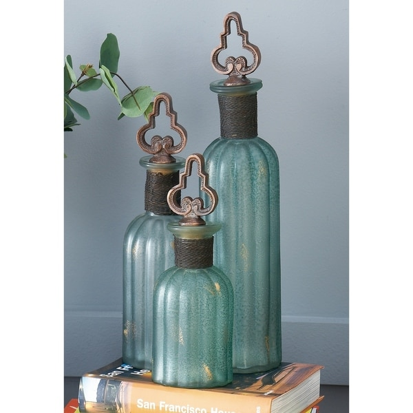 Set of 3 Rustic Glass Stopper Bottles by Studio 350 - N/A