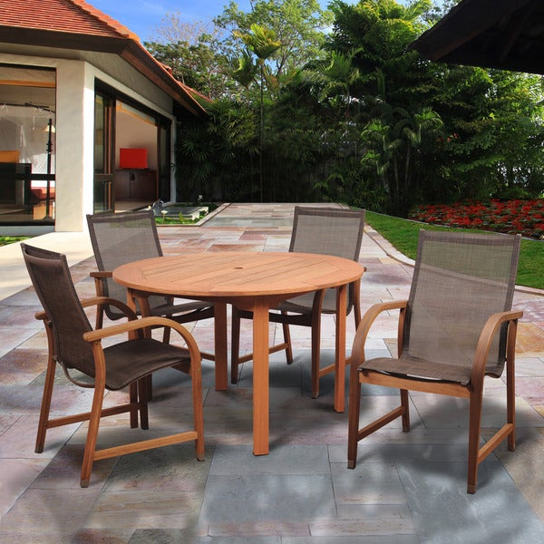 Popham Brown 5-piece Round Patio Dining Set by Havenside Home