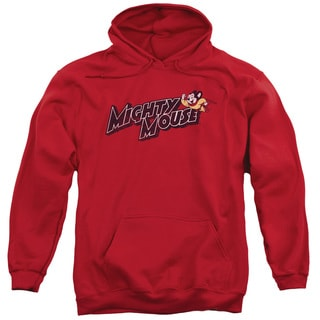 Mighty Mouse/Might Logo Adult Pull-Over Hoodie in Red