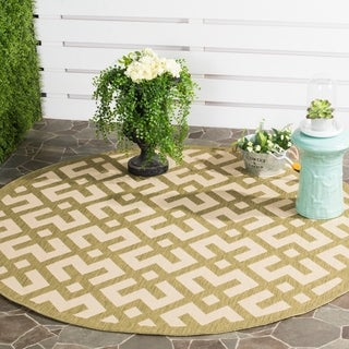Safavieh Courtyard Contemporary Beige/ Green Indoor/ Outdoor Rug (6'7 Round)