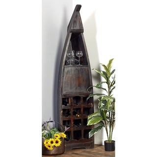Boat-Shaped Wood Multi-Compartment Wine Cabinet