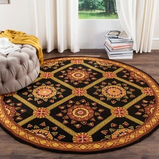 Safavieh Hand-hooked Easy to Care Black/ Yellow Rug (6' Round)