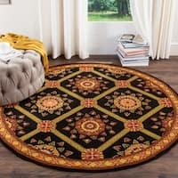 Safavieh Hand-hooked Easy to Care Black/ Yellow Rug - 8' Round