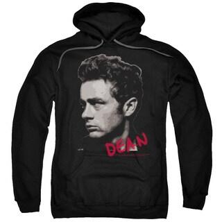 Dean/Large Halftones Adult Pull-Over Hoodie in Black