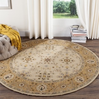 Safavieh Hand-hooked Easy to Care Ivory/ Beige Rug (8' Round)