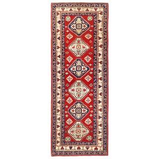 Herat Oriental Afghan Hand-knotted Kazak Red/ Ivory Wool Runner (2'6 x 6'10)