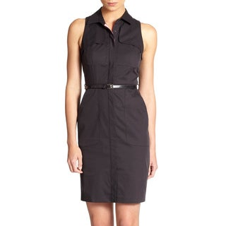 Elie Tahari Women's Gianna Black Stretch Linen Shirt Dress