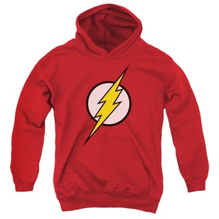 JLA/Flash Logo Youth Pull-Over Hoodie in Red