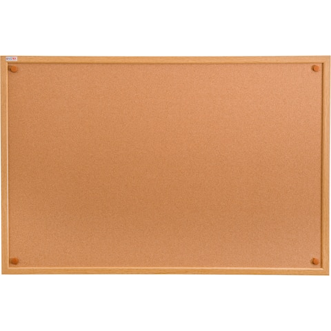 "Viztex Bulletin Board - Cork w/ Oak Effect Frame - Size 24"" x 36"""
