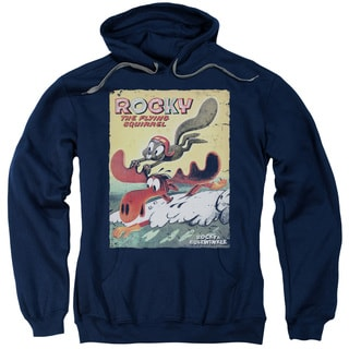 Rocky & Bullwinkle/Vintage Poster Adult Pull-Over Hoodie in Navy