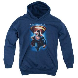 Man Of Steel/Superman & Symbol Youth Pull-Over Hoodie in Navy