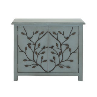 Blue Wood Tree Branch Motif Cabinet