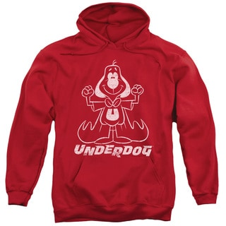 Underdog/Outline Under Adult Pull-Over Hoodie in Red