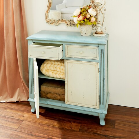 Farmhouse Distressed Teal and White Wood Cabinet by Studio 350 - N/A