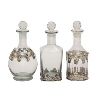Multicolor Glass and Metal Set of 3 Stopper Bottles