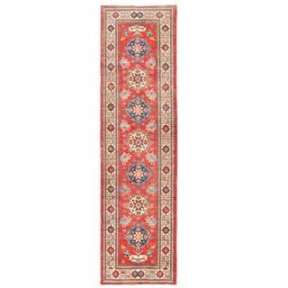 Herat Oriental Afghan Hand-knotted Kazak Red/ Ivory Wool Runner (2'10 x 10'4)