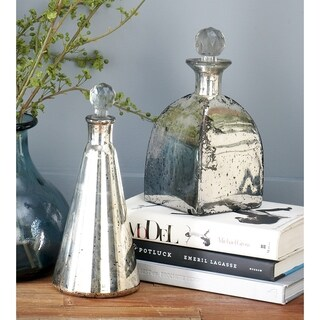 Silver Glass Stopper Bottle (Set of 3)