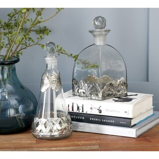 Metal-trimmed Glass Bottles With Stoppers (Set of 3)