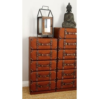 Vintage-style Brown Wood and Leather 5-drawer Cabinet
