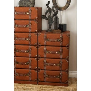 Benzara Wood and Leather 4-drawer Cabinet