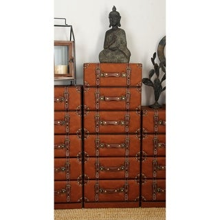 Traditional Wood and Leather Trunk Style 6-Drawer Chest by Studio 351
