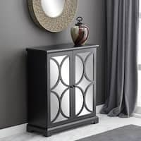 Black Wooden Storage Cabinet with Mirrored Doors