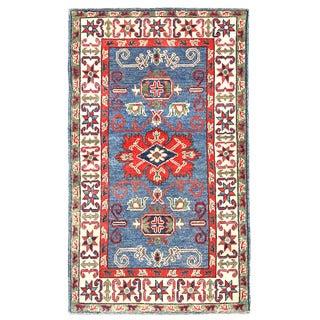 Herat Oriental Afghan Hand-knotted Kazak Wool Rug (2'7 x 4'5)
