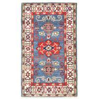 Herat Oriental Afghan Hand-knotted Kazak Wool Rug - 2'7 x 4'5