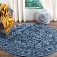 Safavieh Handmade Restoration Vintage Blue/ Dark Blue Wool Rug - 6' Round
