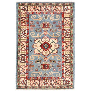 Herat Oriental Afghan Hand-knotted Kazak Light Blue/ Ivory Wool Rug (2'8 x 4'1)