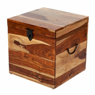Porter Taos Solid Sheesham Square Trunk with Natural Finish (India)