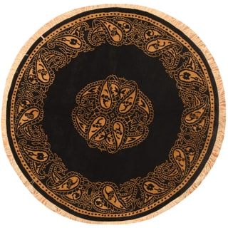 Herat Oriental Indo Hand-knotted William Morris Black/ Brown Wool Round Rug (6'5 x 6'5)